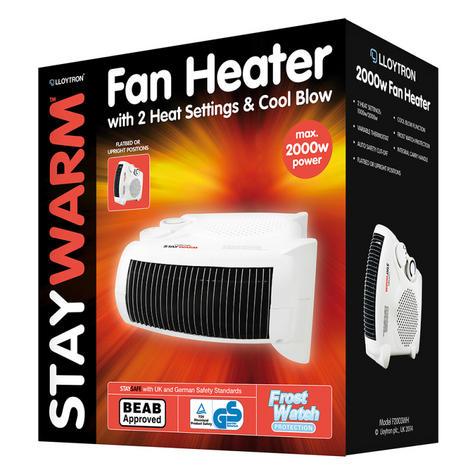 Lloytron F2003WH 2000w Fan Heater| 2 Heat Settings & Cool Blow| Auto Cut-off | White Thumbnail 3