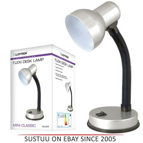 Lloytron  L961SV Flexi Desk Lamp / Mini Classic / Study Lighting / - Silver Thumbnail 1