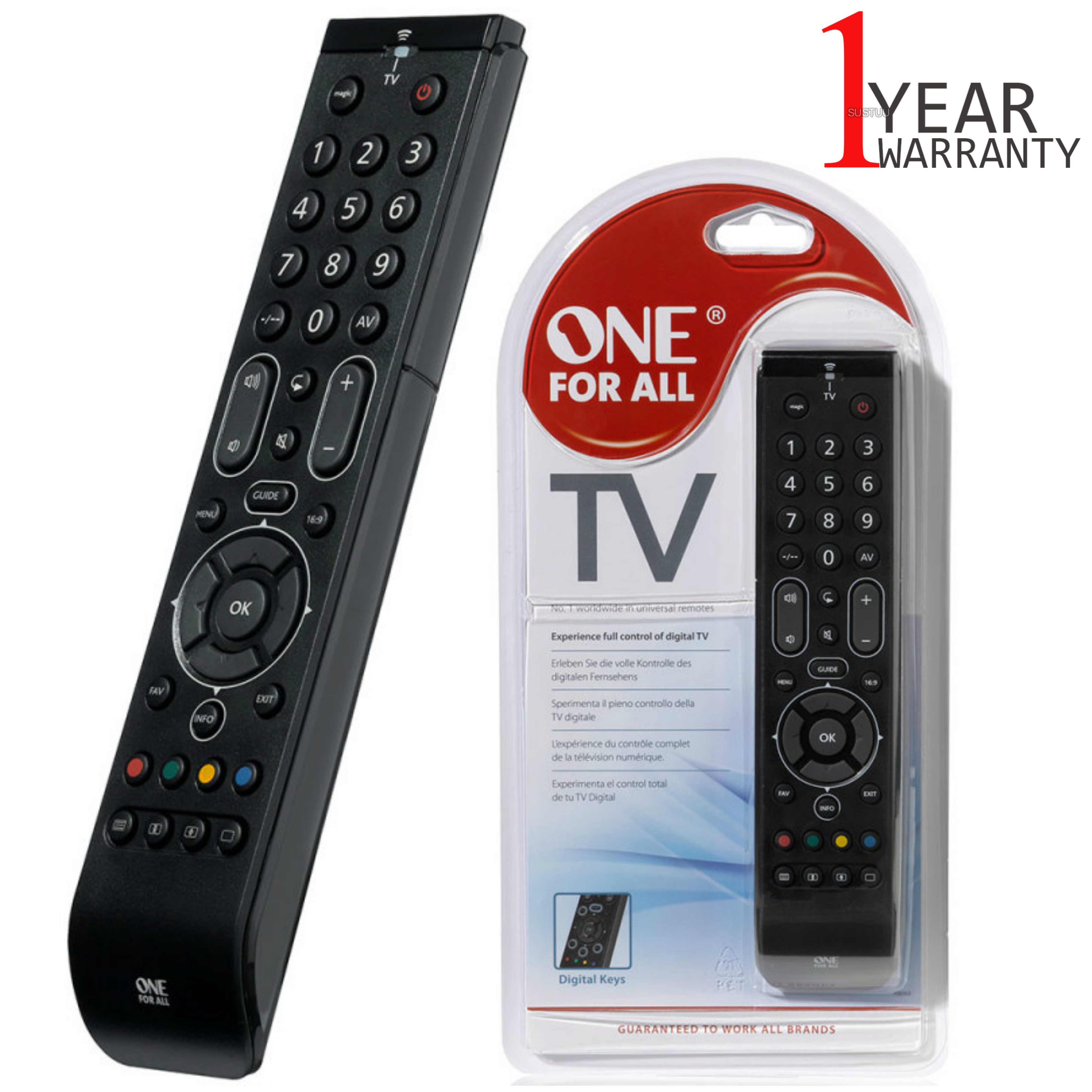 One For All Essence Universal Remote Control For TV | Easy Setup | Black | URC7110 | NEW
