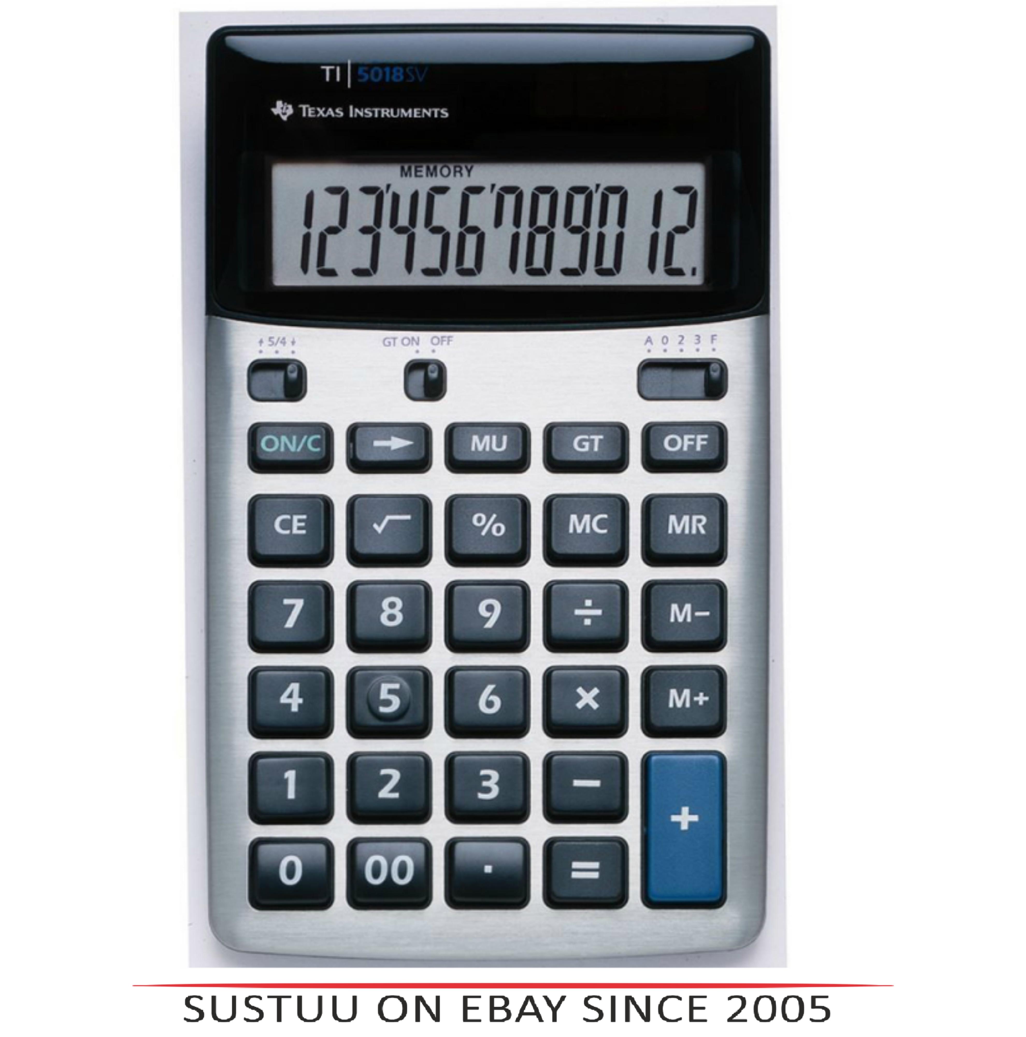 Texas Instruments 518FBL12E1 Desk Calculator|Solar-Battery Powered|12 Digit View