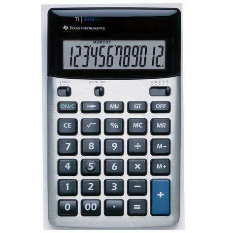 Texas Instruments 518FBL12E1 Desk Calculator|Solar-Battery Powered|12 Digit View Thumbnail 1