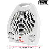 Lloytron F2001WH 2Kw Upright Electric Fan Heater|Adjustable Thermostat|White|