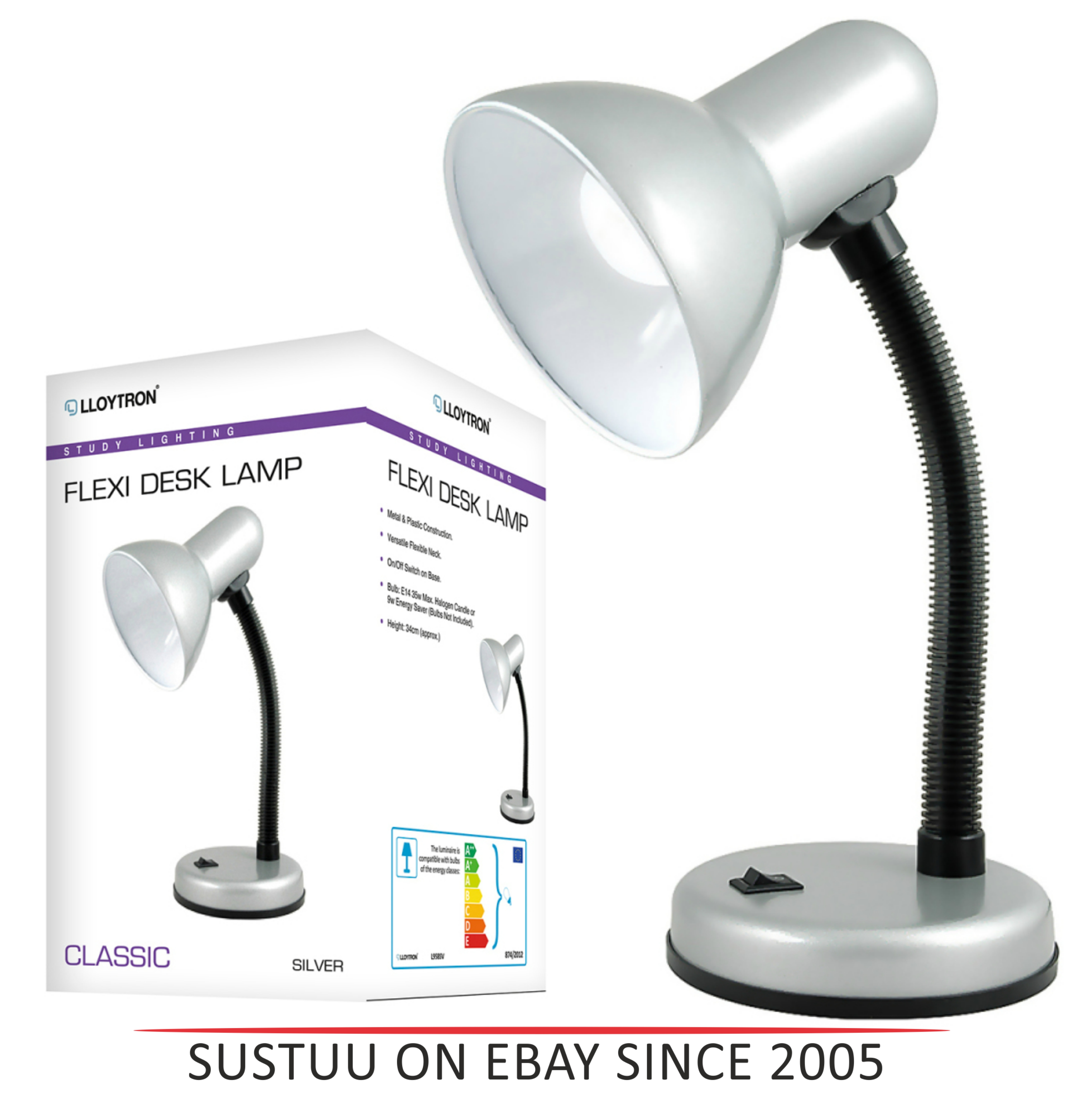 Lloytron L958SV Flexible Neck Desk Lamp / Reading Bedroom Light / - Silver