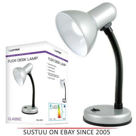 Lloytron L958SV Flexible Neck Desk Lamp / Reading Bedroom Light / - Silver Thumbnail 1