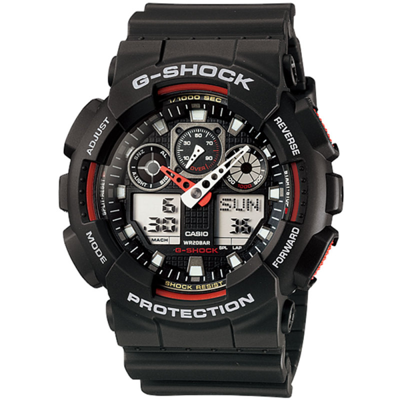Casio GA100-1A4 G-Shock Chronograph Watch|Shock-Magnetic Resist|World Time|Black