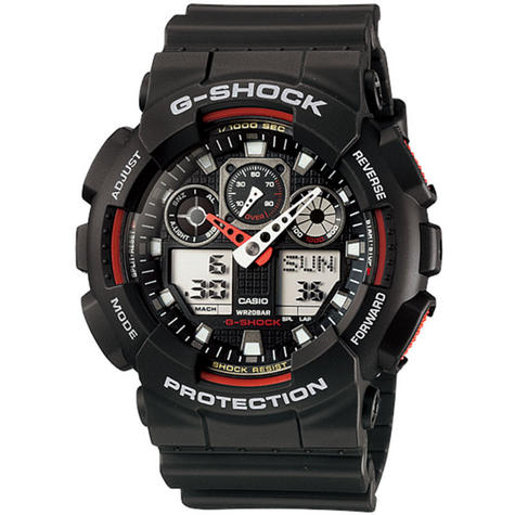 Casio GA100-1A4 G-Shock Chronograph Watch|Shock-Magnetic Resist|World Time|Black Thumbnail 1