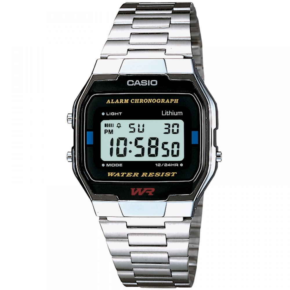 Casio A163WA-1QES Classic Digital Stainless Steel Wrist Watch|Water Resistant|