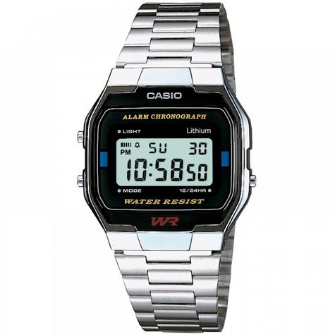 Casio A163WA-1QES Classic Digital Stainless Steel Wrist Watch|Water Resistant| Thumbnail 1