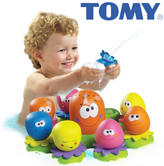 Tomy AquaFun Octopals | 8 Little Fun Octopus | Multi Coloured Toddler Bath Toys | NEW
