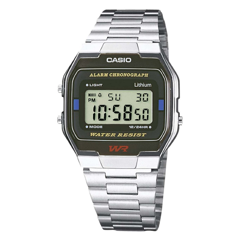 Casio A164WA-1Q Classic Digital Watch|Stainless Steel Band|Alarm|Microlight|New|