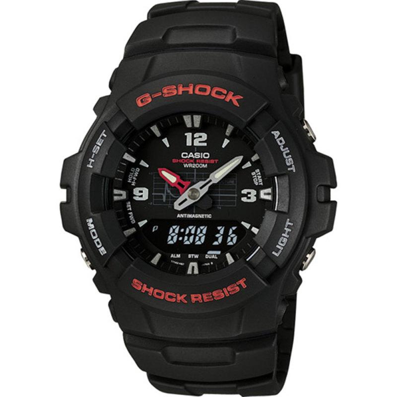 Casio G-100-1BVMUR G-Shock Classic Combination Watch / Water & Shock Resist / Black