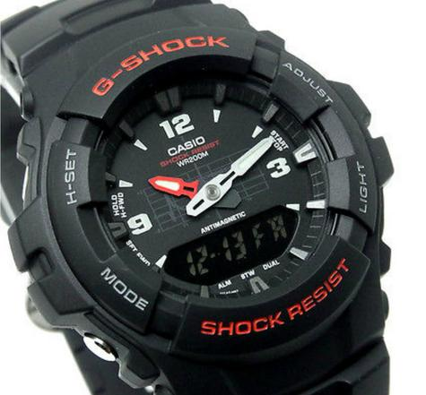 Casio G-100-1BVMUR G-Shock Classic Combination Watch / Water & Shock Resist / Black Thumbnail 4