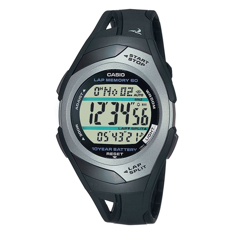 Casio STR300C-1VER o Mens Watch|60 Lap Memory Timer|Resin Band|LED Light|50M WR|