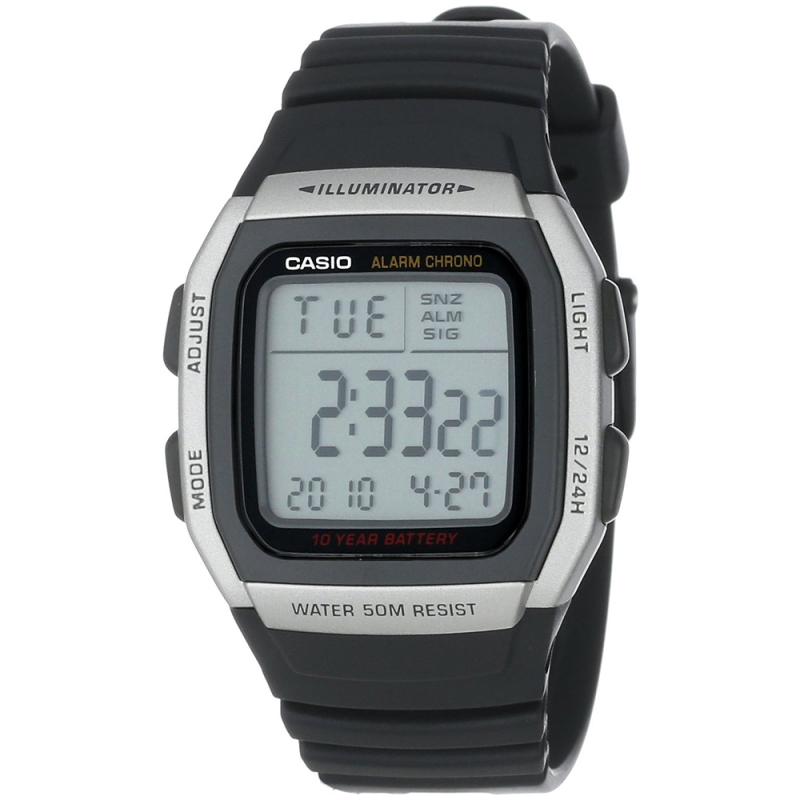 Casio Mens Digital LED Sports Watch | Black Resin Strap | Grey Square Dial | W-96H-1AVES