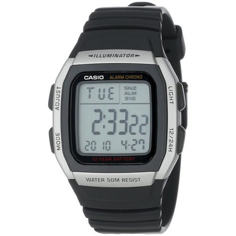 Casio Mens Digital LED Sports Watch | Black Resin Strap | Grey Square Dial | W-96H-1AVES Thumbnail 1