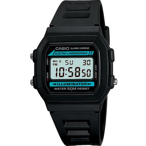 Casio W-86-1VQES New Retro Alarm Chronograph Watch|Daily Alarm|50M WR|Black Dial Thumbnail 1