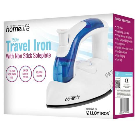 Lloytron E156 Shot Steam Dry Travel Iron|Lightweight|Folding Handle|750W|White| Thumbnail 4