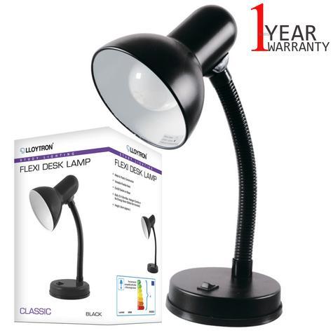 Lloytron L958BK Flexible Neck Desk Lamp | Study Office Bedroom Light | Black | NEW Thumbnail 1