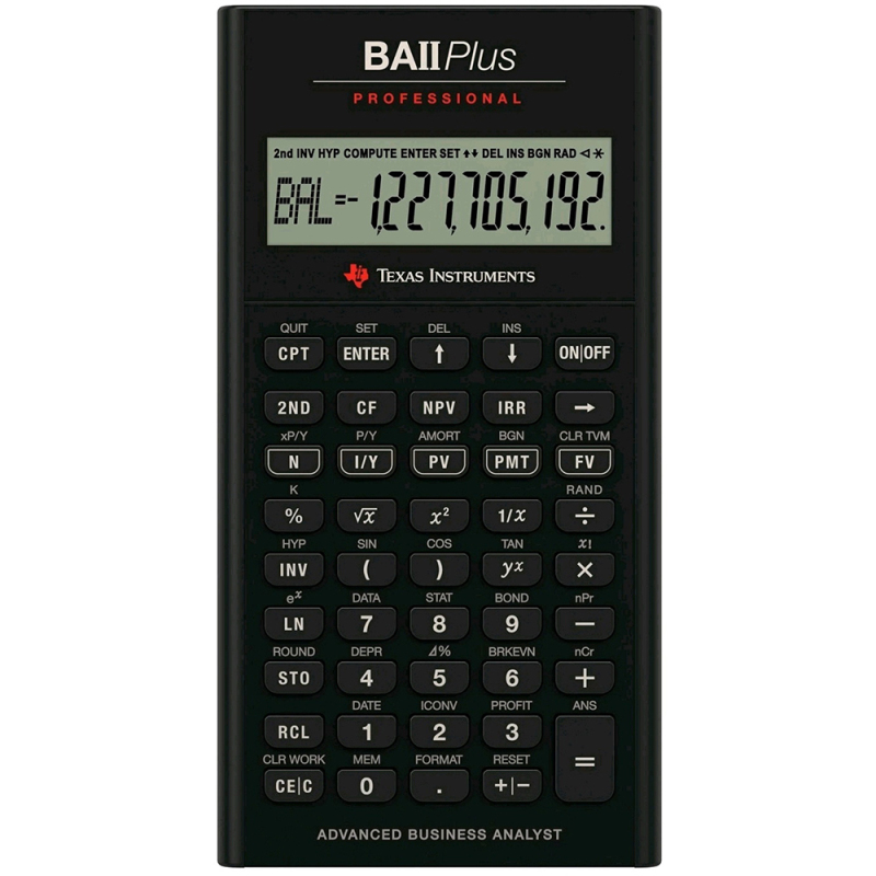 Texas Instruments Professional Financial Student Calculator | IIBAPRO/TBL/4E6 | Black