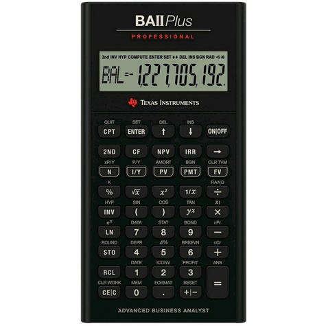 Texas Instruments Professional Financial Student Calculator | IIBAPRO/TBL/4E6 | Black Thumbnail 1