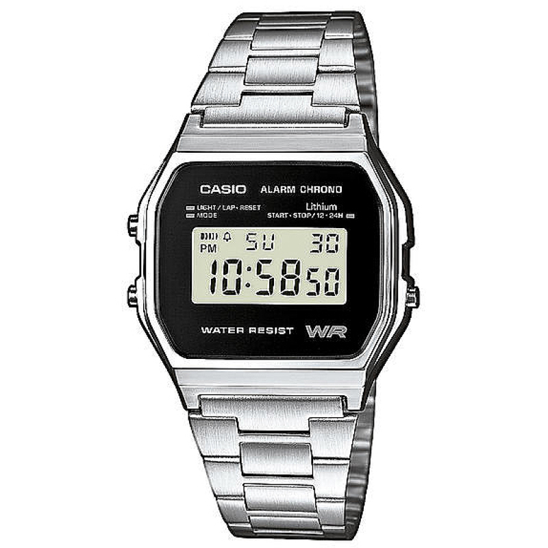 Casio Classic RETRO Stainlees Steel Strap LCD Digital Watch Silver A158WEA-1EF