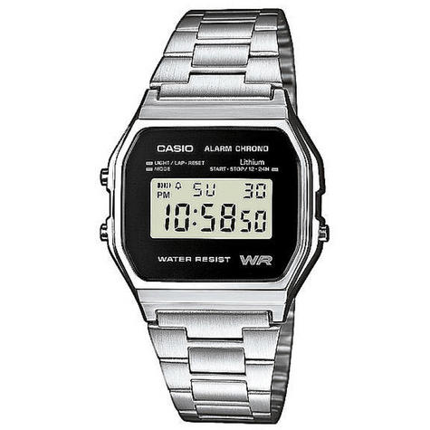Casio Classic RETRO Stainlees Steel Strap LCD Digital Watch Silver A158WEA-1EF Thumbnail 1