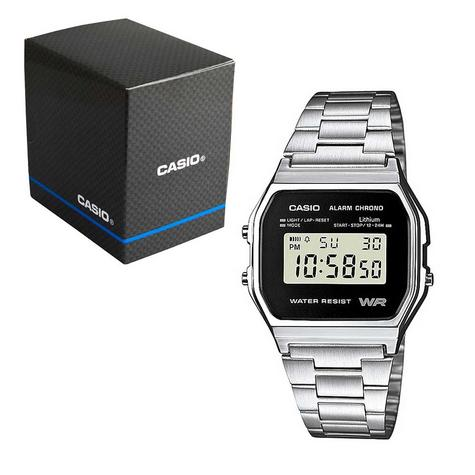 Casio Classic RETRO Stainlees Steel Strap LCD Digital Watch Silver A158WEA-1EF Thumbnail 2