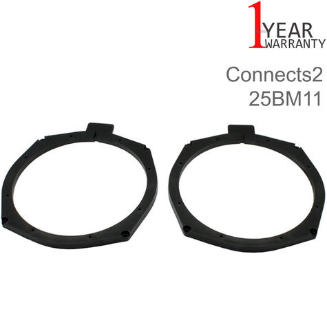 Connects2 204mm Rear Door Speaker Adapter | For BMW 5-SeriesF10/F11 2011> Car | Black Thumbnail 1