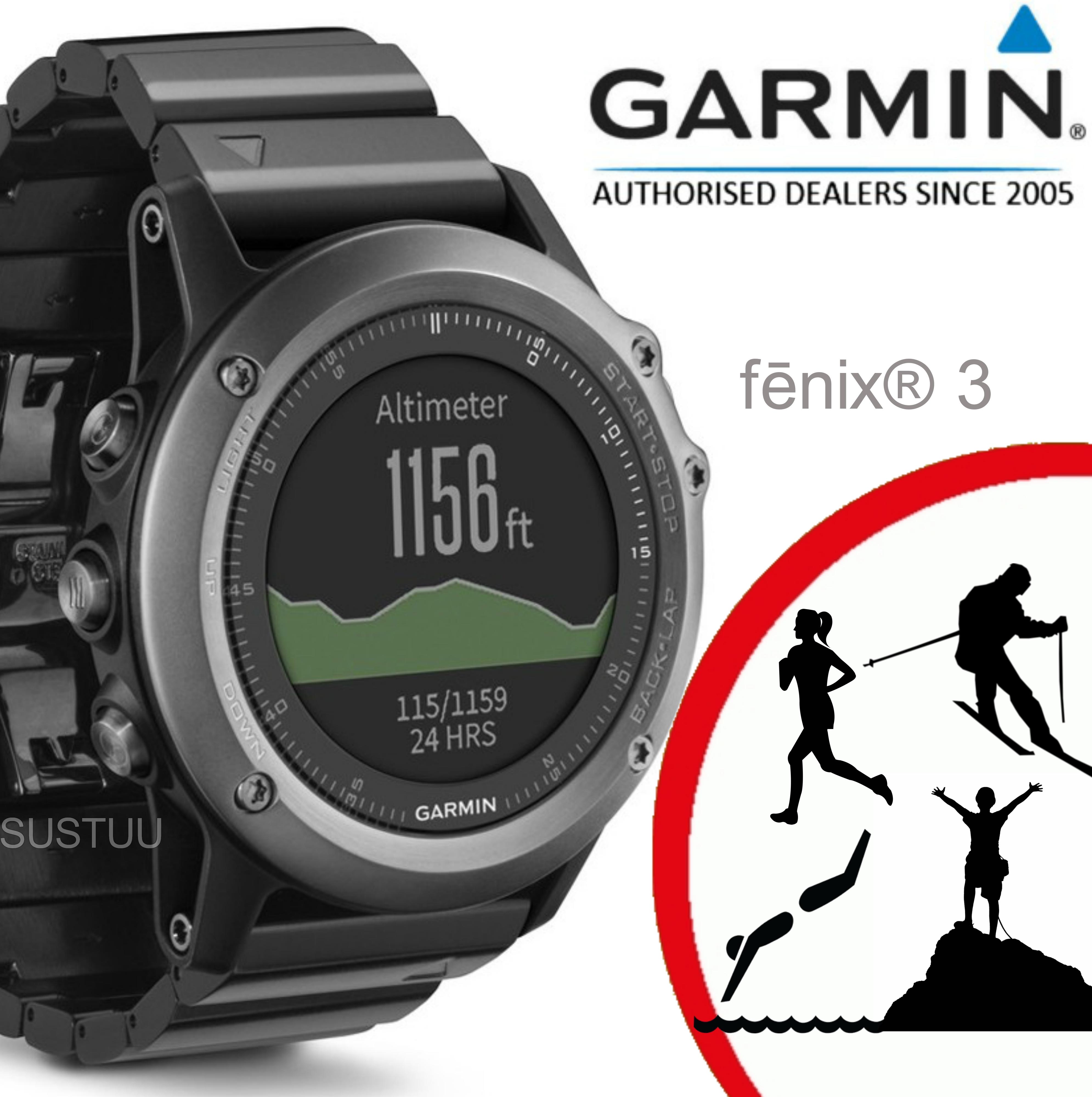 Garmin Fenix 3 Grey|Multisports GPS+GLONASS Smartwatch|Alti-Barometer-Compass