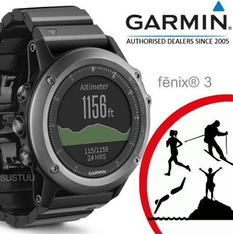 Garmin Fenix 3 Grey|Multisports GPS+GLONASS Smartwatch|Alti-Barometer-Compass Thumbnail 1