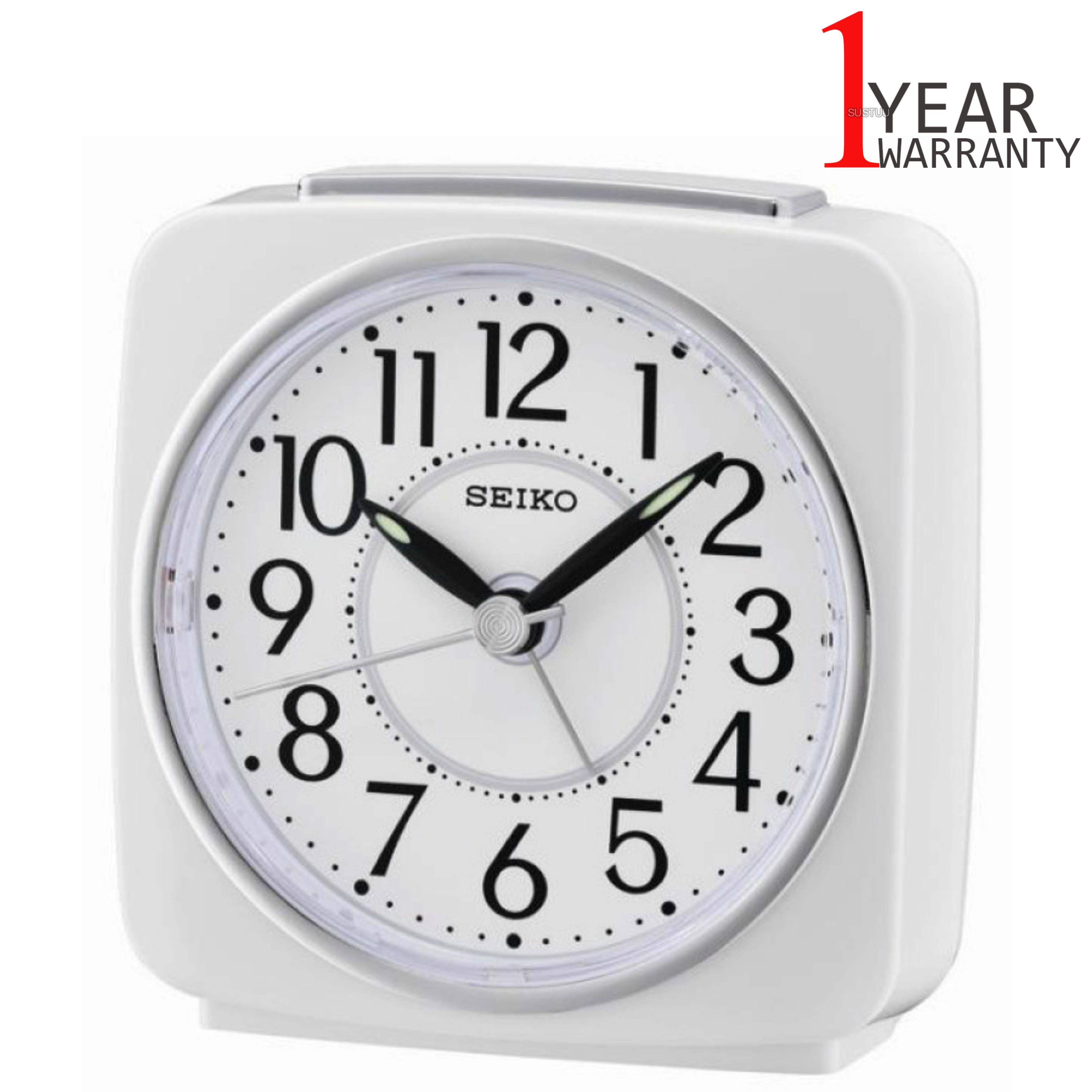 Seiko QHE140W Beep Alarm Analog Clock With Snooze   Lumibrite   Plastic Case   White