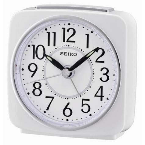 Seiko QHE140W Beep Alarm Analog Clock With Snooze   Lumibrite   Plastic Case   White Thumbnail 2