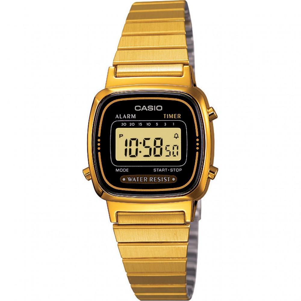Casio LA670WEGA-1EF Ladies Digital Wrist Watch | Black/Gold Dial | Water Resistant