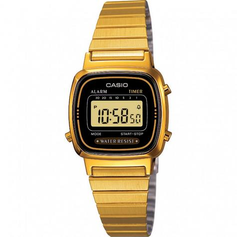 Casio LA670WEGA-1EF Ladies Digital Wrist Watch | Black/Gold Dial | Water Resistant Thumbnail 1