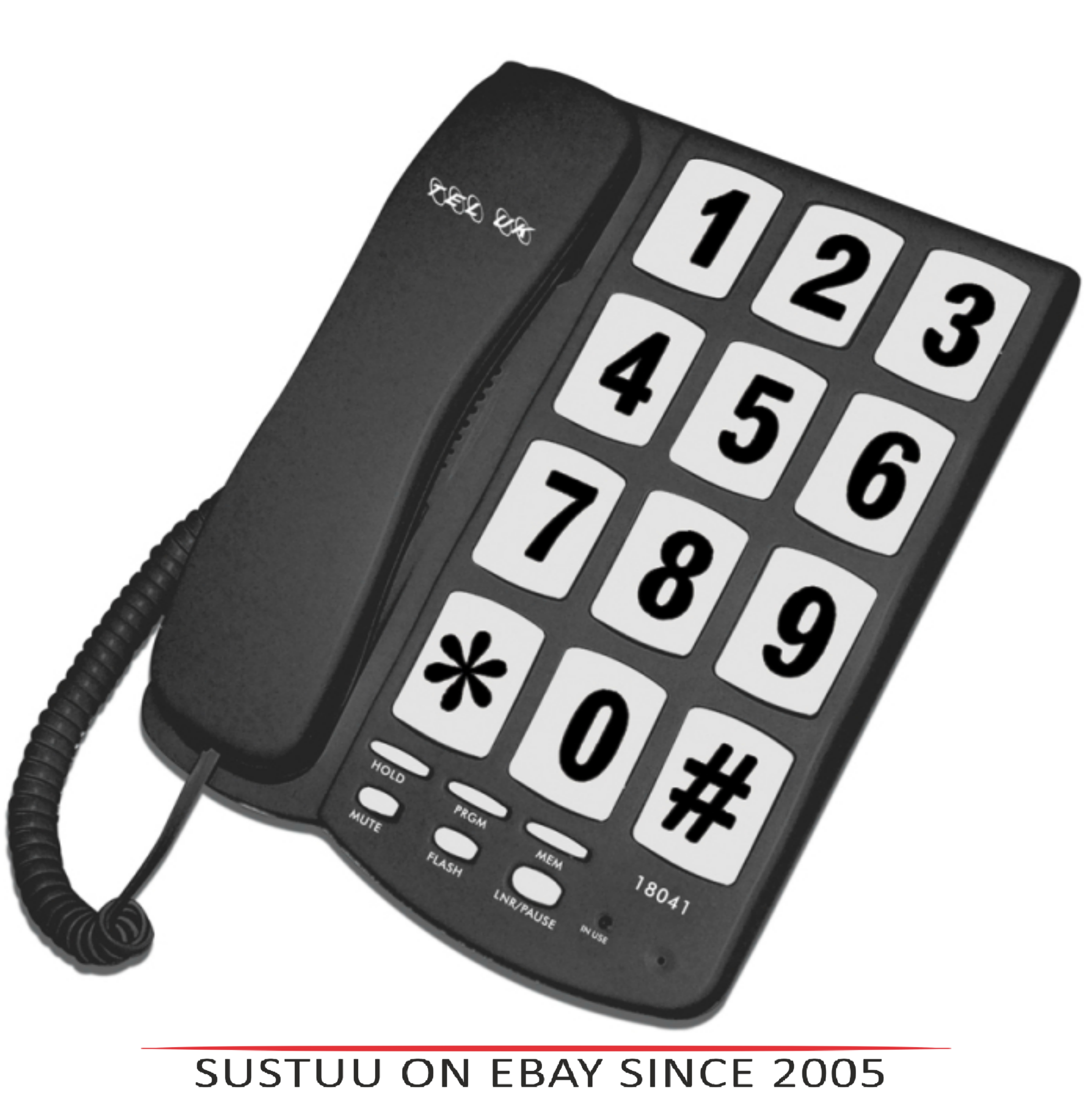 Tel UK 18041B Big Button Telephone New Yorker|Wall Mountable|Mute|Flash|Black|