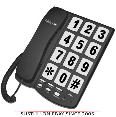 Tel UK 18041B Big Button Telephone New Yorker|Wall Mountable|Mute|Flash|Black| Thumbnail 1