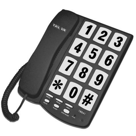 Tel UK 18041B Big Button Telephone New Yorker|Wall Mountable|Mute|Flash|Black| Thumbnail 2