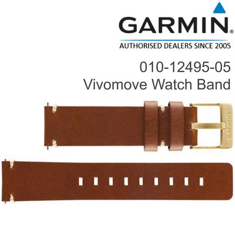 Garmin Replacement Wrist Strap Band | For Vivomove Watch | Light Brown-Leather | New Thumbnail 1