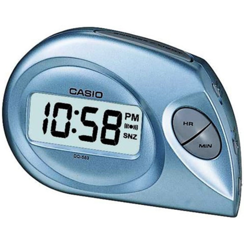 Casio DQ-583-2EF Digital Beep Alarm Clock|LED|Snooze|12/24 Display|Blue - NEW