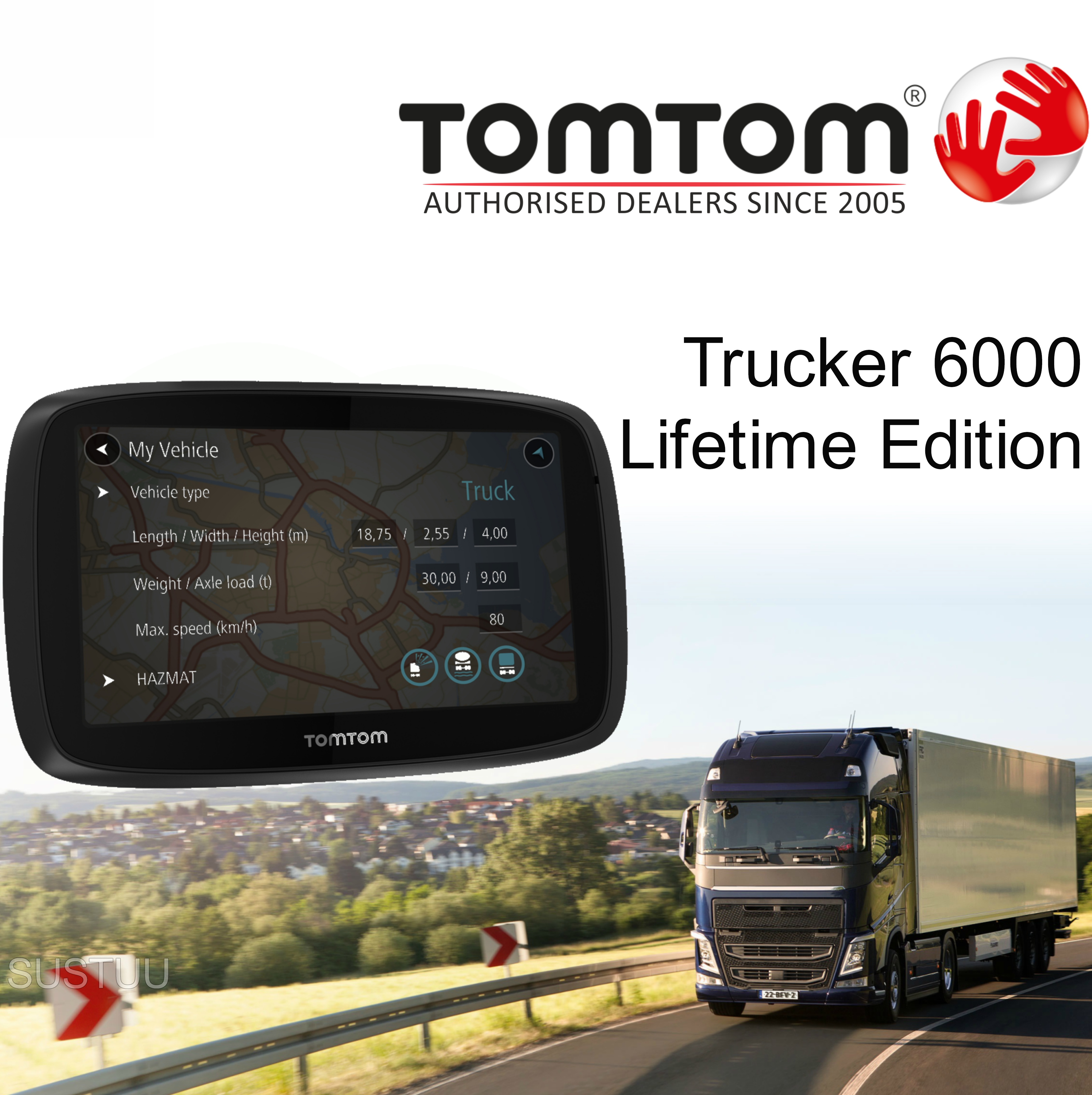 tomtom trucker 6000 lifetime edition gps satnav uk eu maps live traffic speedcameras. Black Bedroom Furniture Sets. Home Design Ideas