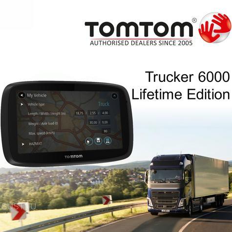 TomTom Trucker 6000 Lifetime Edition | GPS SatNav | UK EU Maps + Live Traffic + SpeedCameras  Thumbnail 1