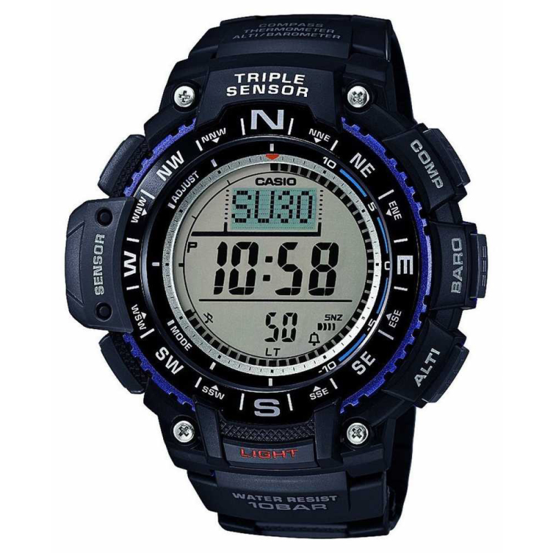 Casio SGW1000-1AER Wrist Watch|Triple Sensor|Digital Compass|World Time|Black|