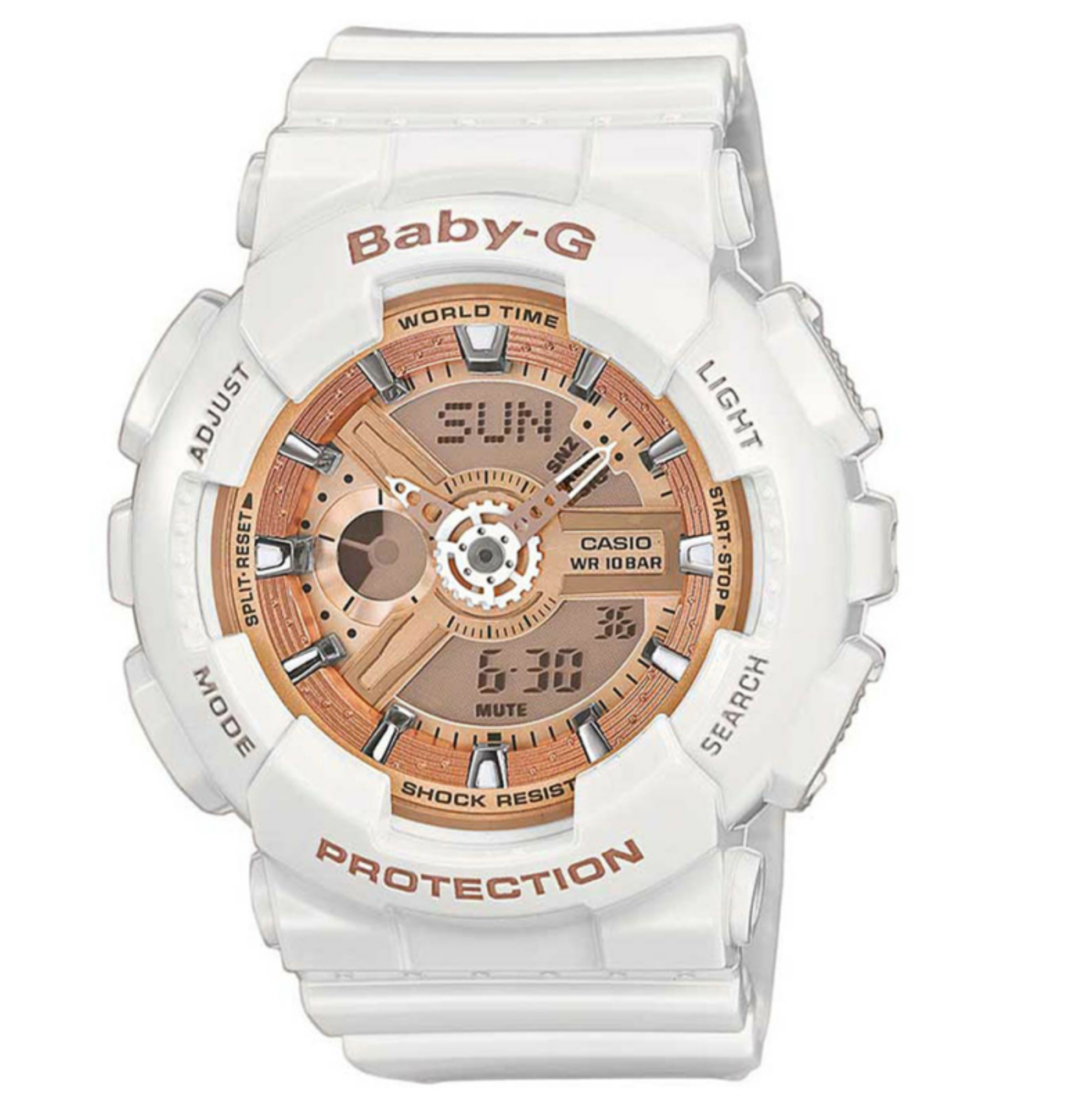 Casio Baby-G BA110-7A1ER Combination Watch|5 Alarms|Shock-Water Resist|LCD|White