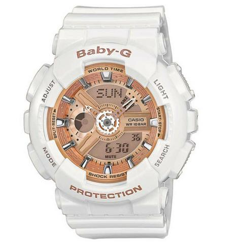 Casio Baby-G BA110-7A1ER Combination Watch|5 Alarms|Shock-Water Resist|LCD|White Thumbnail 1