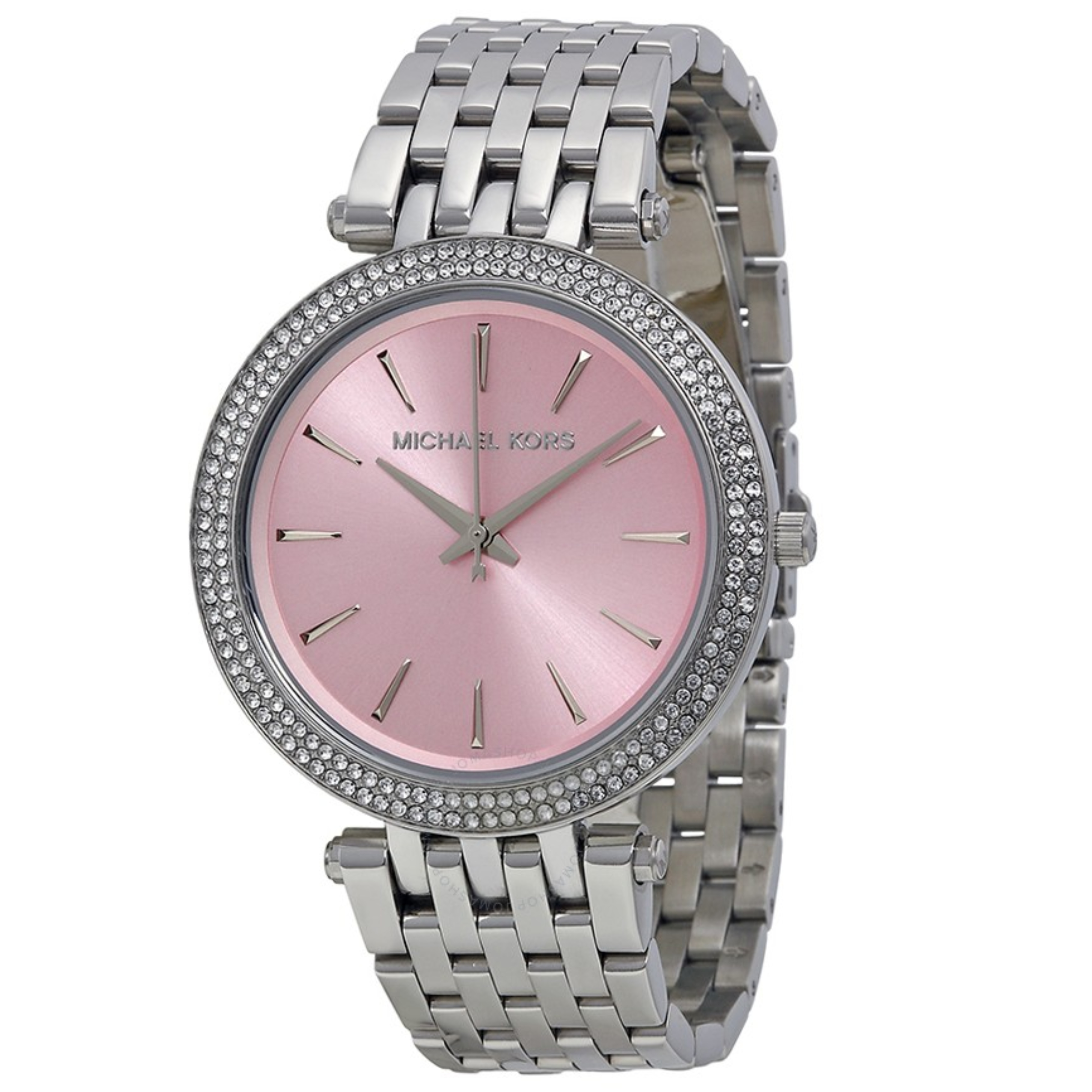 Michael Kors Darci Ladies Watch | Pink Dial Pave Bezel | Silver Bracelet Band | MK3352