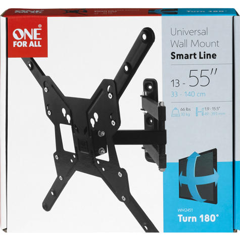 One For All 13-55 Inch Smart Series TV Wall Mount Bracket | Turn 180 | Black | WM2451 Thumbnail 2