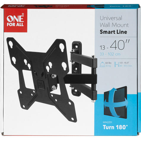 One For All WM2251|Wall Mount TV Bracket|Smart Series|13-40 inch|Turn 180| Thumbnail 2