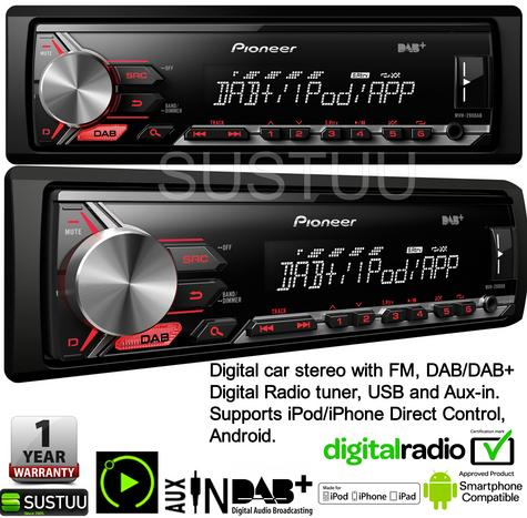 Pioneer In Car Stereo Player|DAB+ Radio|MP3|USB|Aux|iPod-iPhone-Android|Red illumination Thumbnail 3