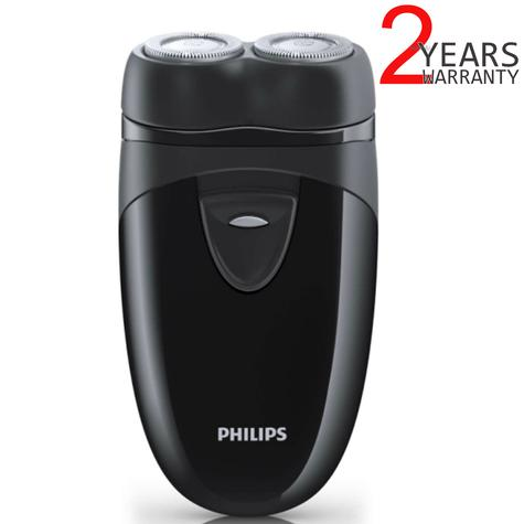 Philips Electric Travel Shaver | Twin Rotary Heads & Pouch | Cordless | PQ203/17 | Black Thumbnail 1