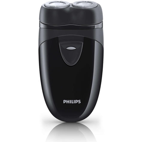 Philips Electric Travel Shaver | Twin Rotary Heads & Pouch | Cordless | PQ203/17 | Black Thumbnail 2